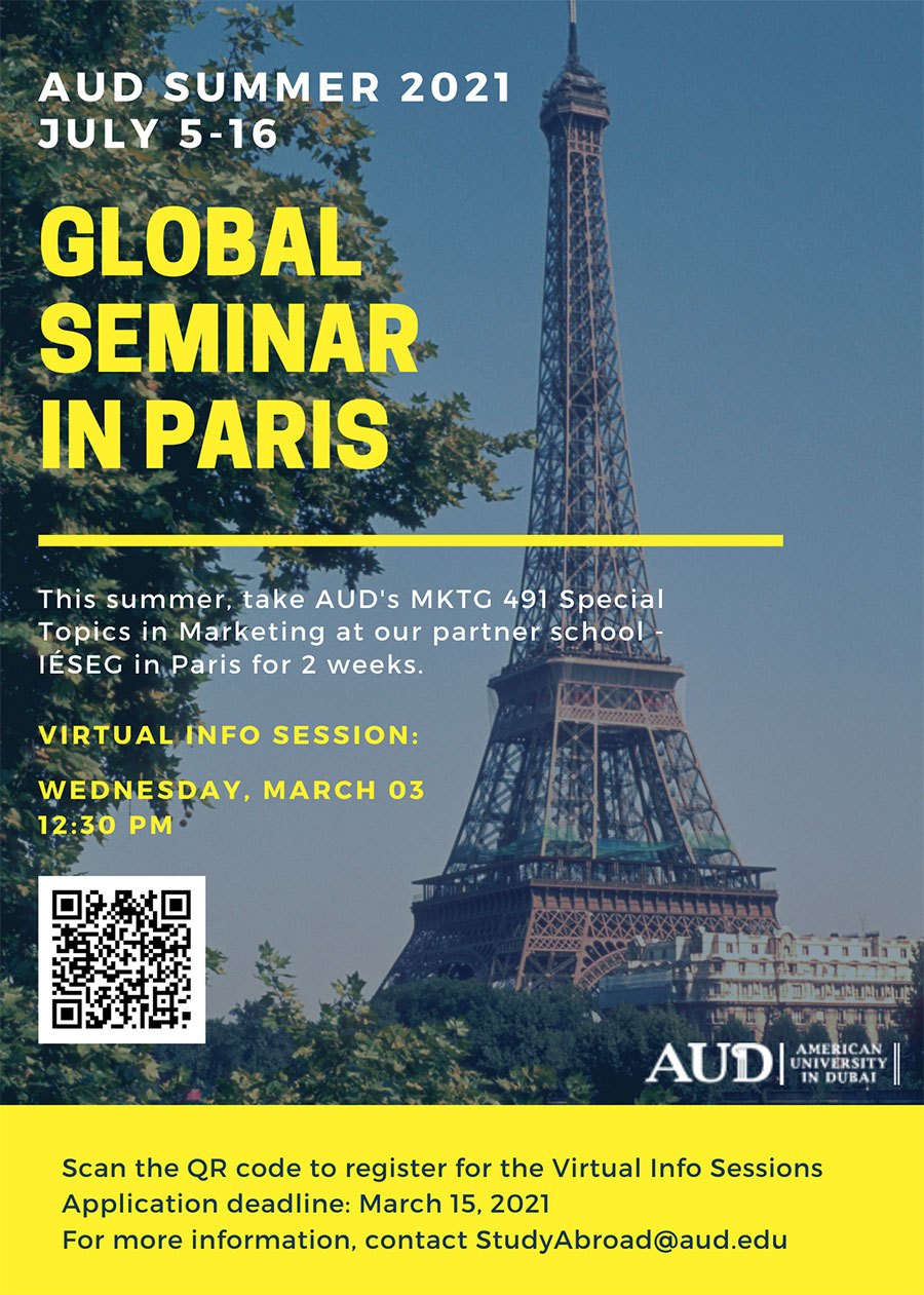 Summer 2021 AUD Global Seminar in Paris Program Info Session